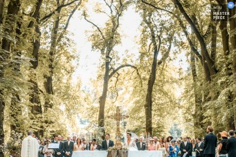Castillo de Saint Rémy en l'Eau - Francia   Fotografía de ceremonia de boda al aire libre bajo los árboles altos