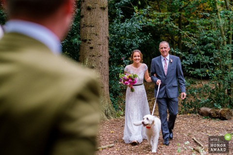 St Albans, Hertfordshire wedding day photo from outdoor ceremony | The bride, her dad and Poppy the doodle making their big entrance