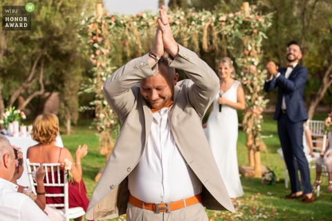 Outdoor Wedding Ceremony Photo, Marrakech | The bride to the groom ... Thank you my friend