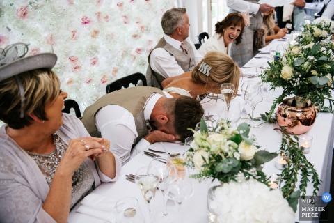 Carlowrie Castle, Edinburgh wedding venue photos - Groom and bride during speeches