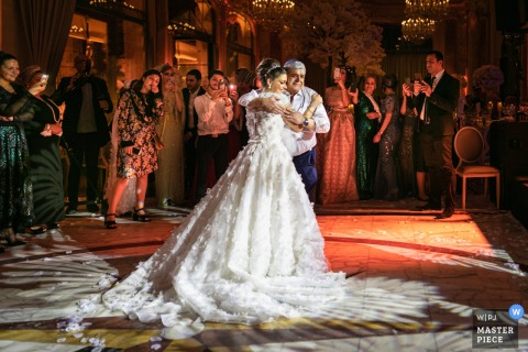 Paris Wedding Reception Party Photography = Bride Dancing with her Father