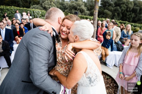 Birnauer Oberhof outdoor wedding ceremony photo:  Hugs...Shortly after the yes word