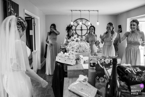 England Wedding Reportage |Burnley First look for the bride in her dress