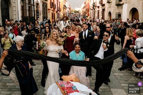 Oaxaca City, Oaxaca Limbo at the Calenda - Mexico street wedding photography