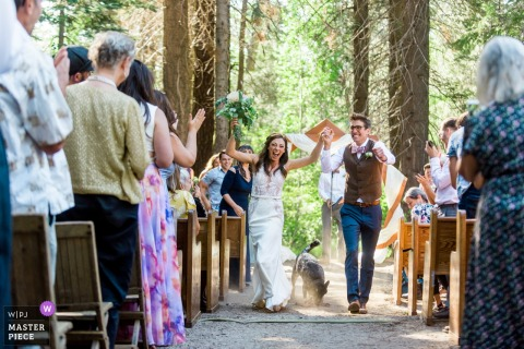 A bride and groom recess at their summer camp wedding outside of Lake Tahoe, CA