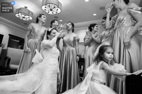 Newnan Centre photos before the ceremony | Bridesmaids toast before weddings