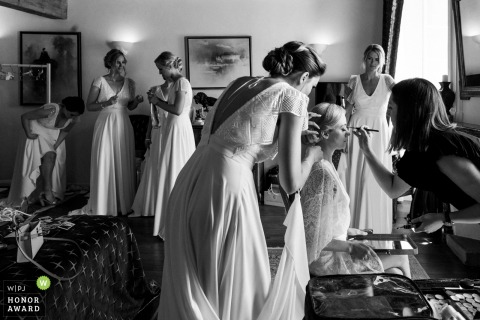Abbaye de Talloires, Annecy wedding photo of the Bridemaids preparing.