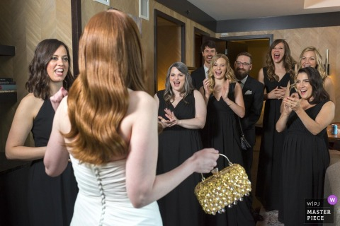 Chicago bride greets bridal party
