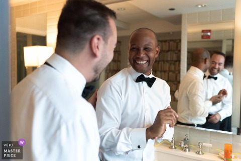 Chicago grooms get ready for their wedding ceremony