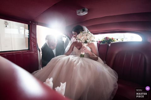Marriott Hotel, Miami FL - Departure to the church with an amazing light ray - Florida wedding photography!