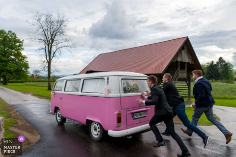 Castle Štanjel, Slovenia wedding transportation photo of pink VW bus: You wanted the old one