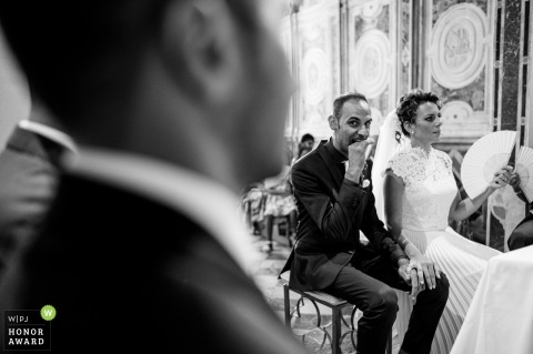Wedding Ceremony Photography - Church in Sicily - strange gestures between the groom and the witnesses