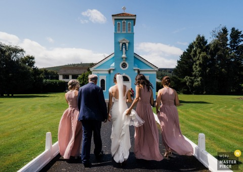 Wedding photos from the Little Blue Church Co Dublin Ireland - Bridal party arrive to the church.