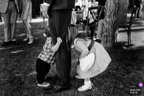 West Shore Cafe, Homewood, CA fotos de casamento | Um irmão e uma irmã compartilham as pernas do papai.