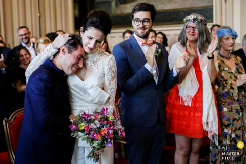 "Wedding Ceremony location - France - Photo showing Big emotion after the ""YES!"""