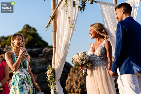 Zakynthos, Greece wedding photography | Emotions during the ceremony