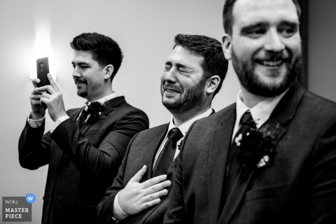 Montreal Courthouse Wedding Photography | Reaction of the men during the wedding ceremony
