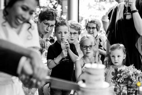Pays-Bas Réception Photographie après le mariage: trois enfants regardent la coupe du gâteau. Grand-mère montre du doigt quelque chose sur le gâteau, tandis que l'aîné enfonce sa langue dans son verre. Le couteau, le gâteau et la mariée sont visibles au premier plan.