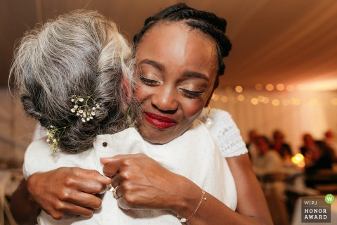 Wedding Photography Ceremony location : Fontclair en provence France - Bride emotion with her mother-in-law