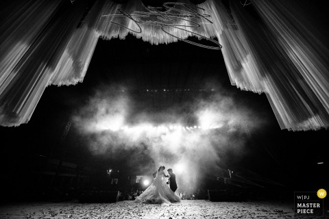 Thailand Bangkok Wedding Ceremony Image of the Bride and Groom under Fog and Lights