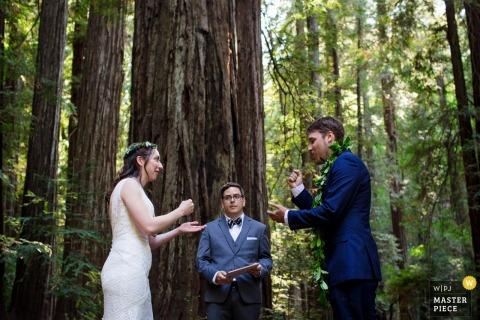 L'image de mariage de la réserve naturelle d'Armstrong Redwoods contient: La mariée et le marié utilisent des suppositions pour décider qui parlera en premier pendant la cérémonie