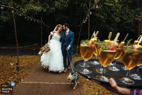 L'image du reportage de mariage de Dreys, Kent contient: le couple et leur chien arrivant à la réception des boissons
