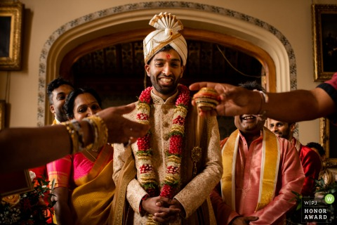 Carlton Towers, Yorkshire wedding venue photo of groom Indian traditions