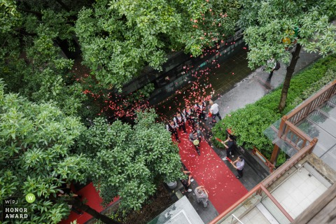 Hangzhou china Ceremony photo from the wedding - Overhead photography from the building