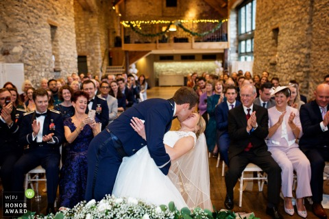 Priston Mill wedding venue photo of the dip and the First kiss