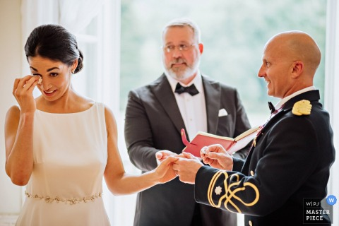 Europahaus ViennaWedding Photography | Emotional moment during the ring exchange.