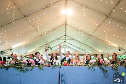 Knoxville Tennessee reception photography - Bridal party toasting the bride and groom under the tent