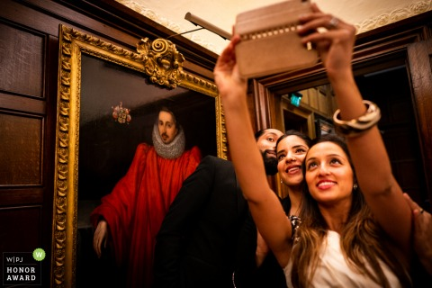 Wedding photo from the Middle Temple, London 	- Art work watching the selfies