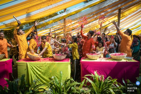India, Ahmedabad Indian Wedding Photo of the Holi ceremony