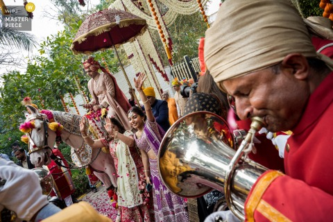 Delhi, India Wedding Photography | Music on baraat procession