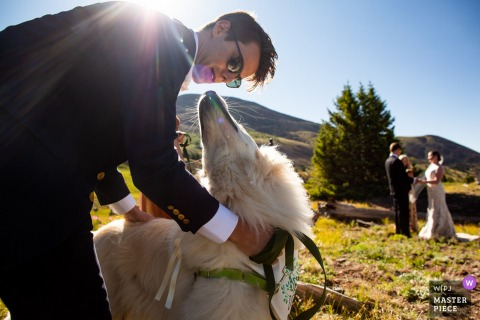 Boreas Pass, Colorado Wedding Ceremony Image | The couple's dog is only interested in kisses from guests during the ceremony.