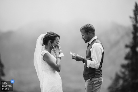 Colorado Outdoor Wedding image of the bride and groom exchanging vows