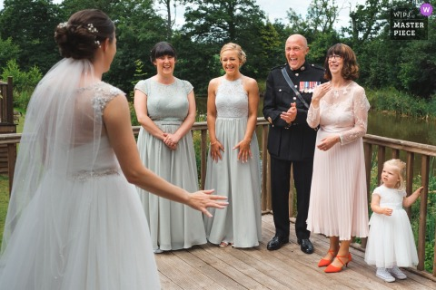 Upton Barn Wedding Image |	Father of bride reacting seeing his daughter in her dress