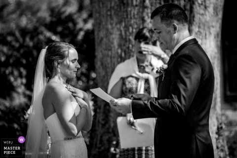 Maryland outdoor wedding photo from a ceremony in Bethesda from a Front yard - In the moment