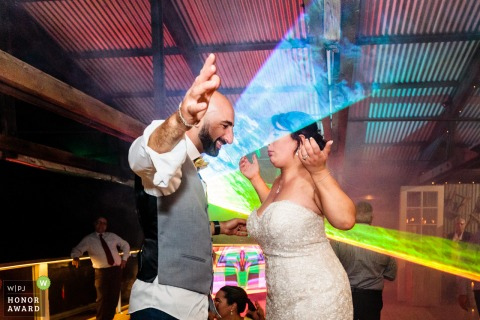 Victoria wedding photography from the Australia Reception Venue showing the Dancing under laser lights