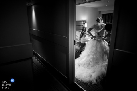 UK wedding photography from Chiswick, London of the Bride getting ready in a Premier Inn hotel