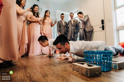 Photographie de mariage en Californie depuis le lieu de la cérémonie du jeu de la porte chinoise