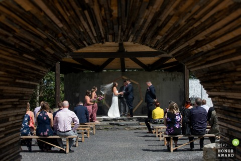 Canada wedding photo from the Alberta Ceremony location captured through archway