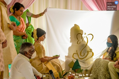 Traditional wedding photo from the Bride's parent's home - Bloomfield Hills, Michigan during an Indian Ceremony ritual where groom is hidden from bride