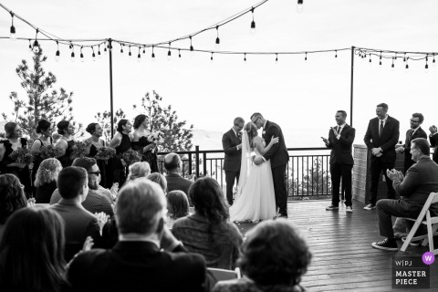 Colorado wedding photo from Evergreen of an outdoor Ceremony on a deck