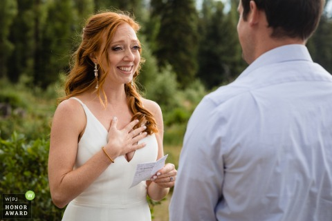 Teton National Parkphoto of the bride getting emotional during outdoor ceremony