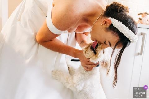De bruid buigt zich in haar jurk om haar puppy te kussen op deze trouwfoto uit het huis van de bruid in West Sussex, Engeland
