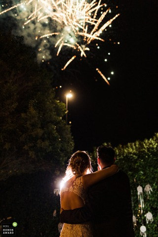 Villa Morgana Garden Reception image from Rome Italy of the couple during the wedding fireworks