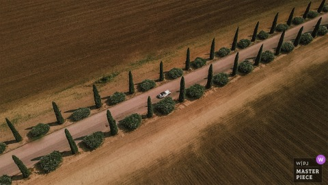 Puglia, Italia Sposa e sposo in macchina, veduta aerea da una telecamera di un drone