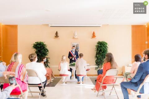 Les Sables d'Olonne, Vendee, France Coronavirus wedding ceremony image with face masks