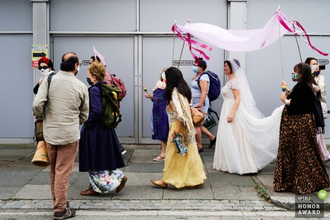 Wedding photograph from A street in north London, UK